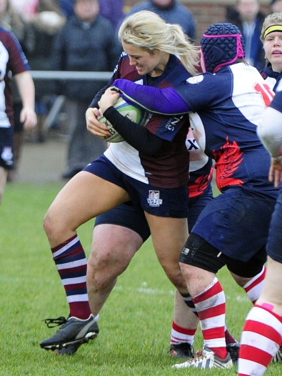 VALKRYIES FLANKER JENNA REDMOND IN ACTION photograph ANDY STANDING