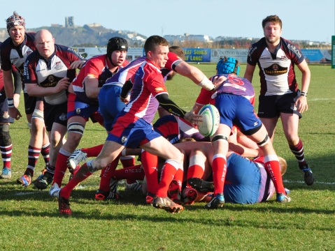 BLACKBURN SCRUM-HALF SEAN HALL CLEARS FROM A RUCK