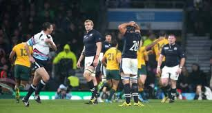 DISTRAUGHT SCOTS AT THE END OF THE AUSTRALIA GAME